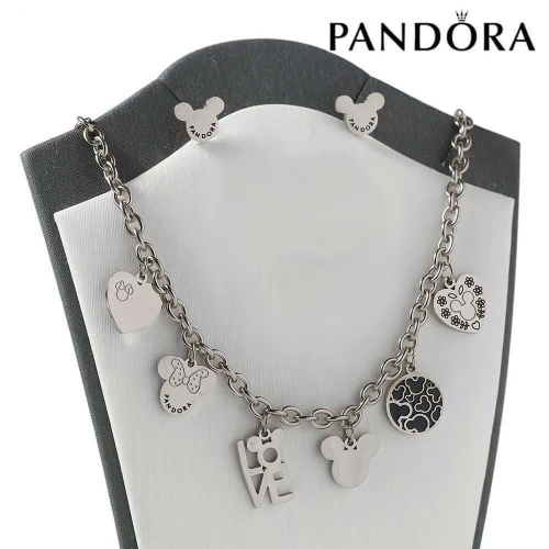 HY200710-W4649BS Stainless steel pandor*a necklace+earring