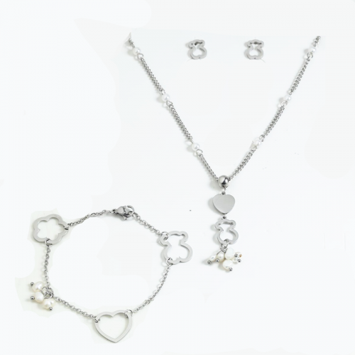S200728-001-S Stainless steel tou*s necklace + earring+bracelet