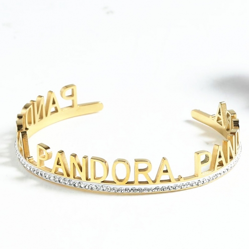 Stainless Steel Pandor*a Bangle SN201022-PDB0154-G