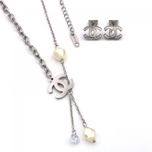 Stainless steel  Chane*l  Jewelry Set TZ366G