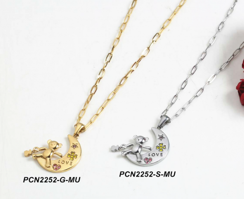 Stainless steel  Necklace PCN2252-S-MU
