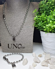 Stainless steel Uno de 50 Set--Size 6MM  Bracelet+Necklace