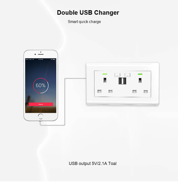 double socket with usb charger