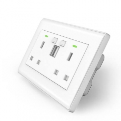 TBU02 Smart Wall Socket UK Double Switch Twin Socket