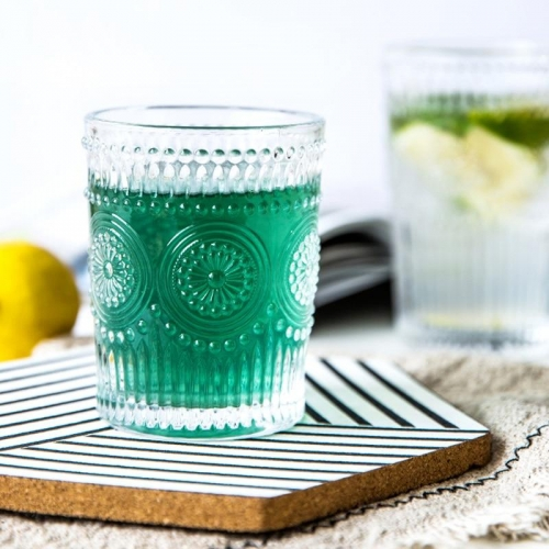 Wholesale Sun Flower Soda Cup Embossed Glass Tumbler Cups Whiskey Glass