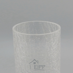Small Size Transparent Crackle Tall Glass Cylinder Vase Glass With Wood Base