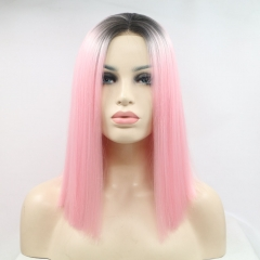 Sakura Pink Straight T-Color Bob Ombre Synthetic Lace Front Wig