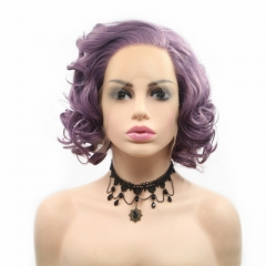 2019 New Purple Curly Short Bob Synthetic Lace Front Wig