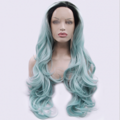 Romantic Pastle Blue Ombre Layered Long Wavy Synthetic Lace Front Wig
