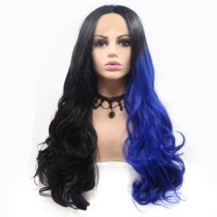 Gothic Half Black and Blue Ombre Long Wavy Synthenic Lace Front Wig