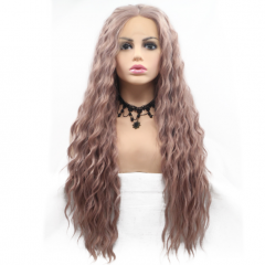 Stylish Rose Grey Long Corn Curly Synthetic Lace Front Wigs
