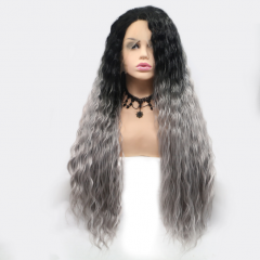 Dusty Grey Black Root Loose Curl Long Ombre Synthetic Lace Front Wig
