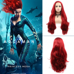 """Aquaman Queen Mera"" Cos Hot Red Long Wavy Synthetic Lace Front Wig"