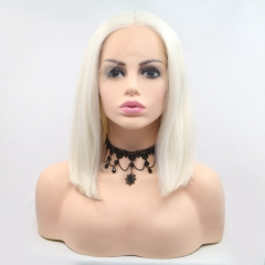 2019 New Gorgeous White Short Length Straight Bob Synthetic Lace Front Wig