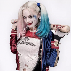 "Inspired""Harley Quinn""Cos Half Pink And Half Blue Synthetic Lace Front Wig"