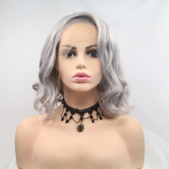 2019 New Granny Grey Short Wavy Bob Synthetic Lace Front Wig with Side Bangs