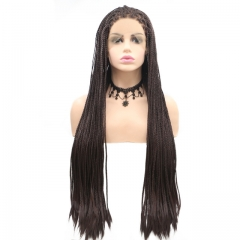 2019 New Mixed Brown Natural Super Long Dreadlocks Braided Synthetic Lace Front Wig
