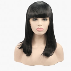 2019 New Jet Black Straight Gorgeous Bob Synthetic Lace Front Wig with Bangs