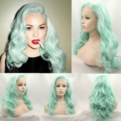 Spring Summer Hot Seller Mint Color Long Wavy Synthetic Lace Front Wigs