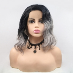 2019 New Black T Grey Water Wave Loose Wavy Bob Synthetic Lace Front Wig