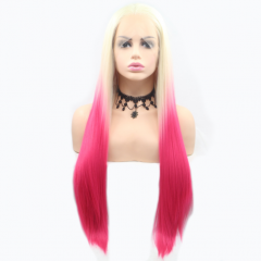 Amazing Gradient Blonde To Hot Pink Long Silky Straight Synthetic Lace Front Wig