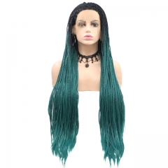 2019 New Black T Teal Ombre Long Dreadlocks Hand Tied Twist Braided Rock Synthetic Lace Front Wig