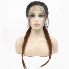 2019 New Black T Brown Ombre Long Double Braided Pigtail Synthetic Lace Front Wig with Baby Hair