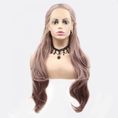 2019 New Gold Pink Long Wavy Braided Fishbone Layered Cut Synthetic Lace Front Wig