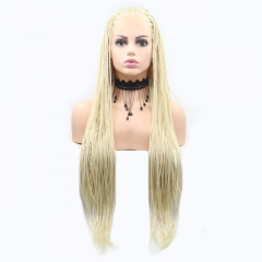 2019 New Blonde Long Dreadlocks Hand Tied Twist Braided Synthetic Lace Front Wig