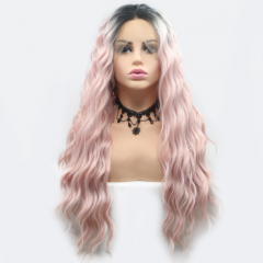 Pastle Pink Ombre Color Long Wavy Synthetic Lace Front Wig