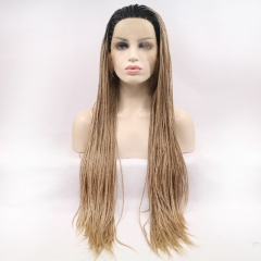 2019 New Black T Dark Blonde Ombre Long Afro Dreadlocks Hand Tied Twist Braided Synthetic Lace Front Wig