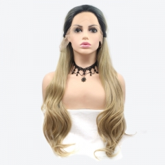 2019 New Black T Blonde Ombre Long Wavy Natural Braided Fishbone Synthetic Lace Front Wig