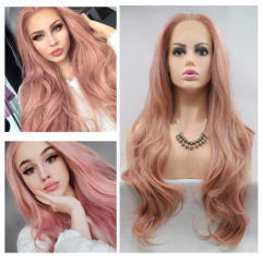 Best Seller Romantic Gloden Rose Mixed Color Long Loose Wave Lace Front Wig