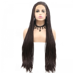 2019 New Dark Brown Long Dreadlocks Natural Hand Tied Twist Braided Synthetic Lace Front Wig