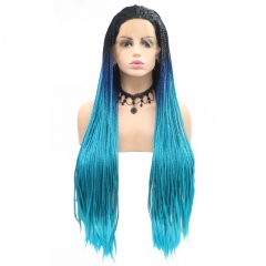 2019 New Black T Navy Blue T Light Blue Three-Color Long Dreadlocks Afro Hand Tied Twist Braided Synthetic Lace Front Wig