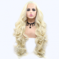 White Blonde Quite Long Wavy Synthetic Lace Front Wig