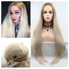 Super Long Straight Natural Ombre Greyish Blonde Synthetic Lace Front Wig