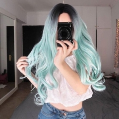 Hot Mint Ombre Color Long Wavy Synthetic Lace Front Wig