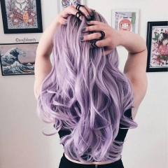 Pastel Purple Ombre Loose Long Wavy Synthetic Lace Front Wigs