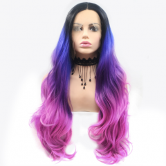 Contrast Multi-color Black T Blue T Pink Ombre Long Wavy Synthetic Lace Front Wig