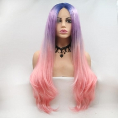 Royal Blue T Pastel Purple T Living Coral Pink Three Colors Long Wavy Synthetic Lace Front Wig