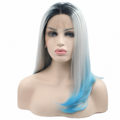 Black T Grey T Pale Blue Ombre Shoulder Length Straight Synthetic Lace Front Wig