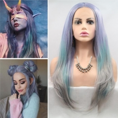 Lavender To Pastel Mint To Grey 3 Colors Long Wavy Synthetic Lace Front Wig