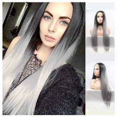 Hot Black To Grey Ombre Sliky Straight Long Synthetic Lace Front Wig