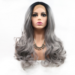 Trendy Silver Grey Ombre Loose Wavy Synthetic Lace Front Wig