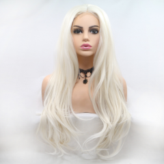 White Layed Long Wavy Synthetic U Lace Front Wigs
