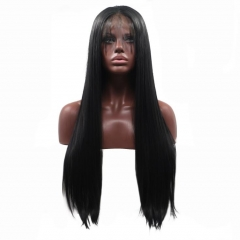 Natural Black Long Straight Synthetic Lace Front Wigs