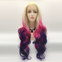 Gradient Ombre Three Colors Blonde T Pink T Purple Long Wavy Lace Front Synthetic Wig