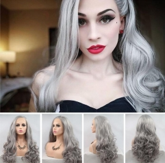 2019 Fashion Granny Grey Color Long Wavy Synthetic Lace Front Wig