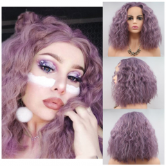 Best Seller Dusty Lavender Loose Curl Bob Synthetic Lace Front Wig